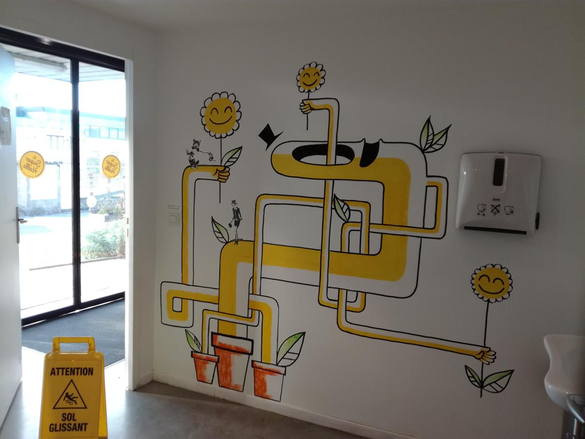 decoration peinture murale collage à la super halle de Oullins