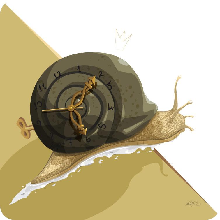 animal totem de la lenteur -lord of time - escargot - horloge - e-breed illustration - graphiste abys lyon