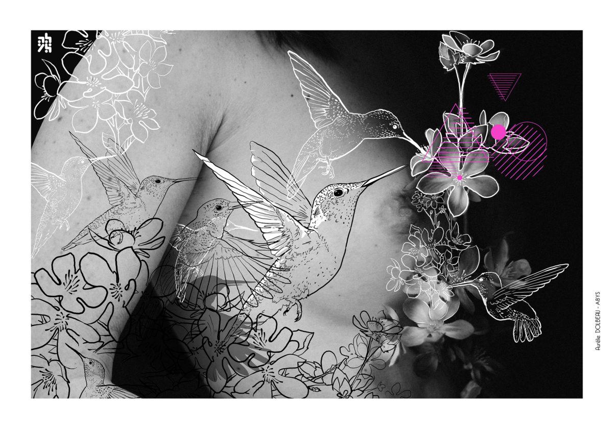 Venus spacejunk femme sein colibri -illustrateur-graphiste-lyon -abys