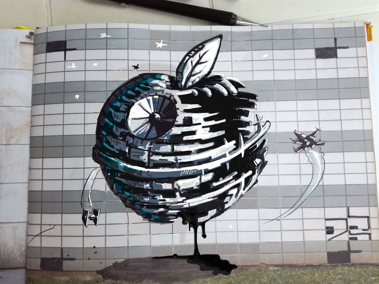 abys-illustration art-lyon apple iphone vs starwars death