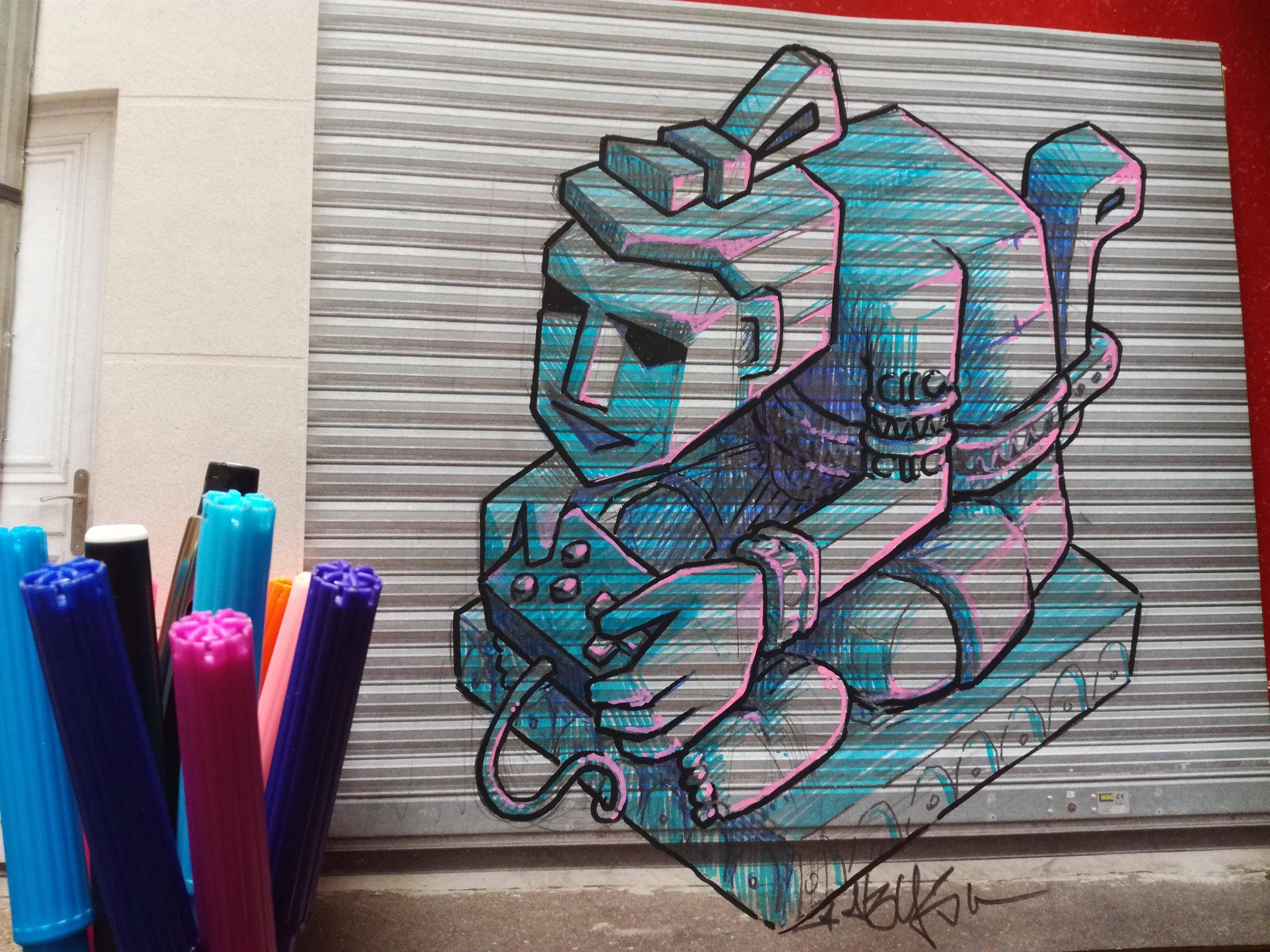 abys - da lyon - illustration streetart geek idoll antic gamer