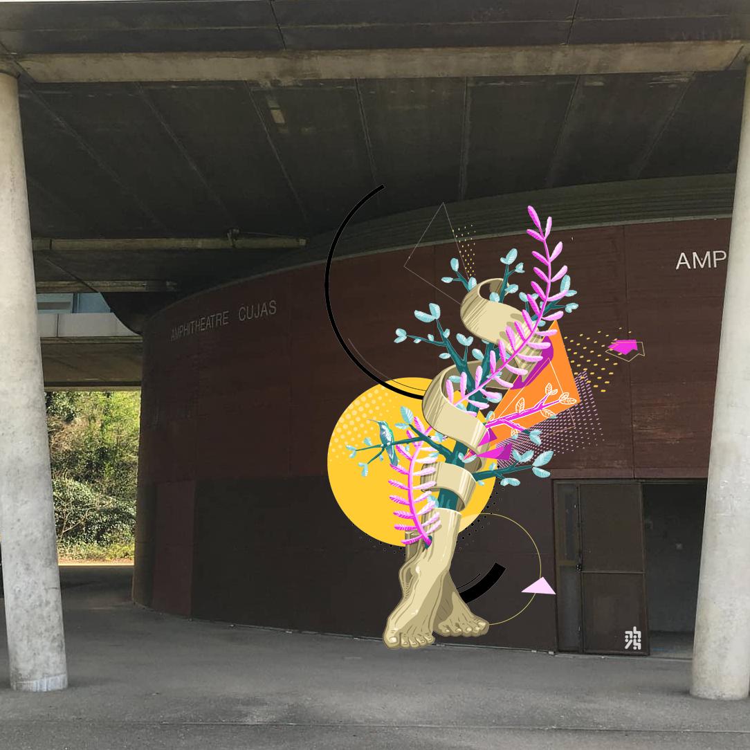 illustrateur - graphiste - abys digital painting lyon pied vegetal colibri - lyon fresque europe