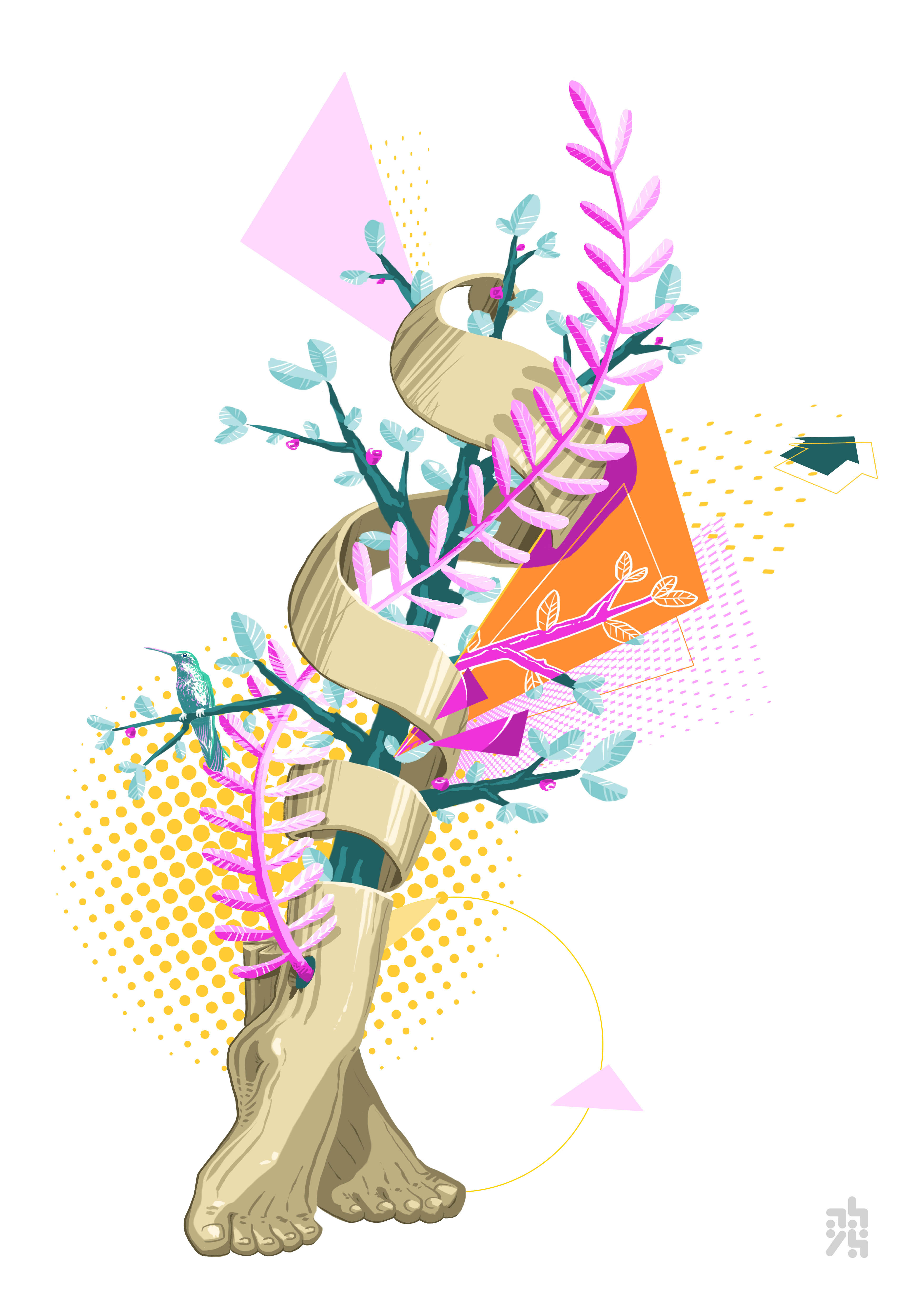 illustrateu - graphiste - abys digital painting lyon pied vegetal colibri