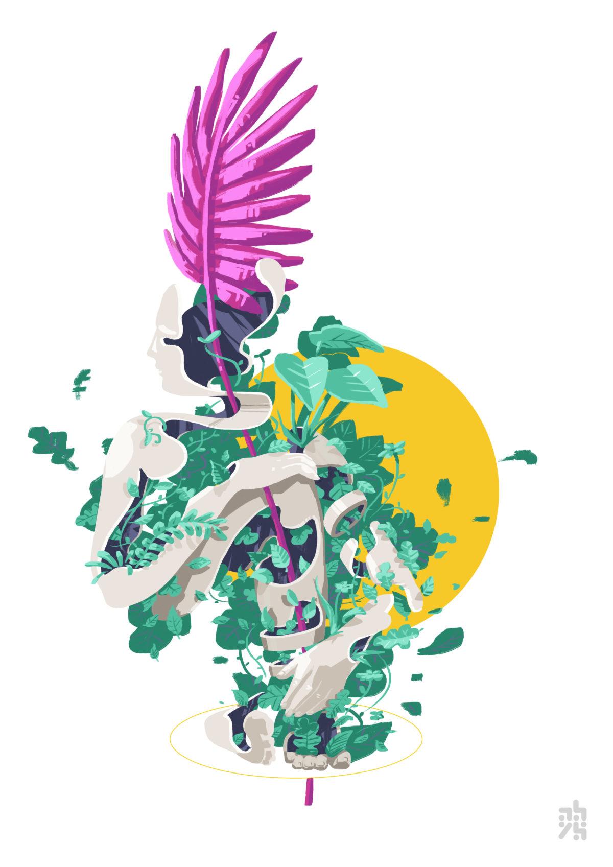 illustrations - graphisme - abys digital painting lyon vegetal