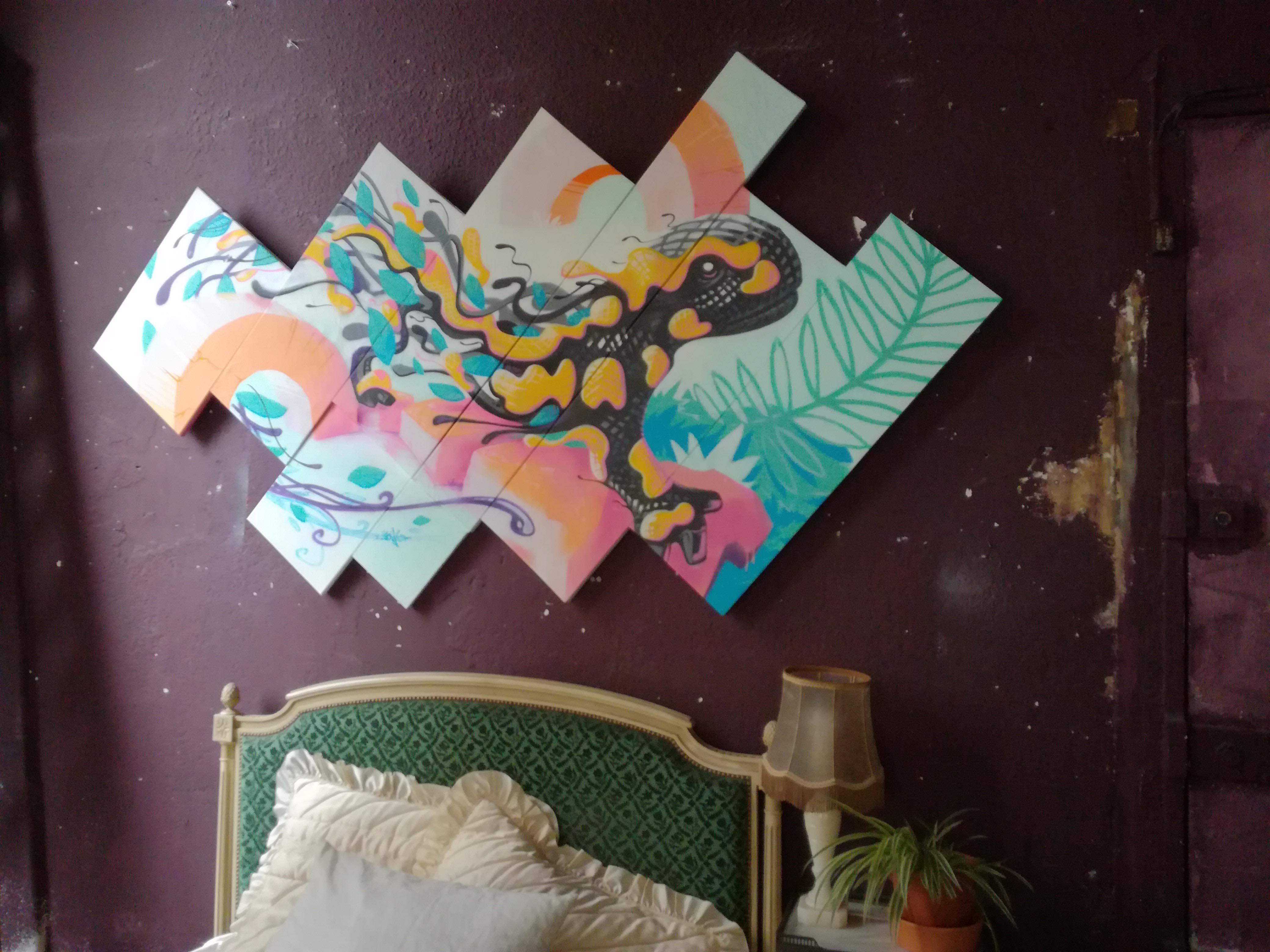 Salamandre metaflaune deco canvas street-art -illustrateur-graphiste-lyon -abys