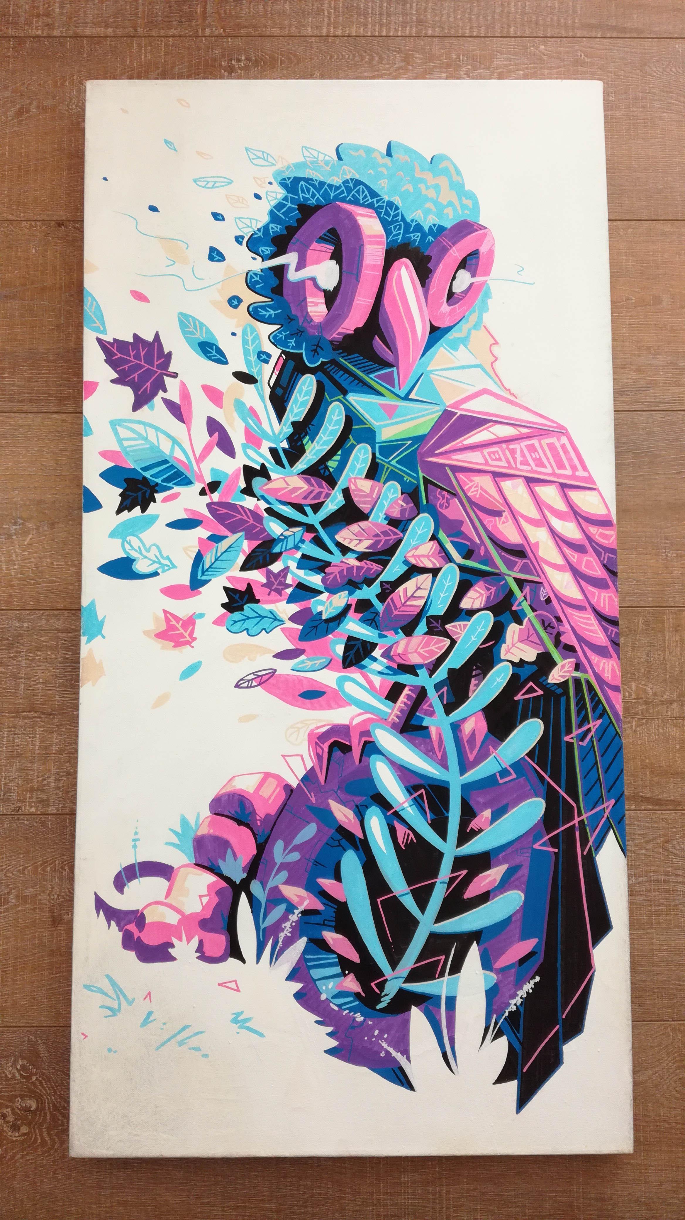 oiseau violet métaflaunes - Da - illustrateur-graphiste-lyon -abys posca