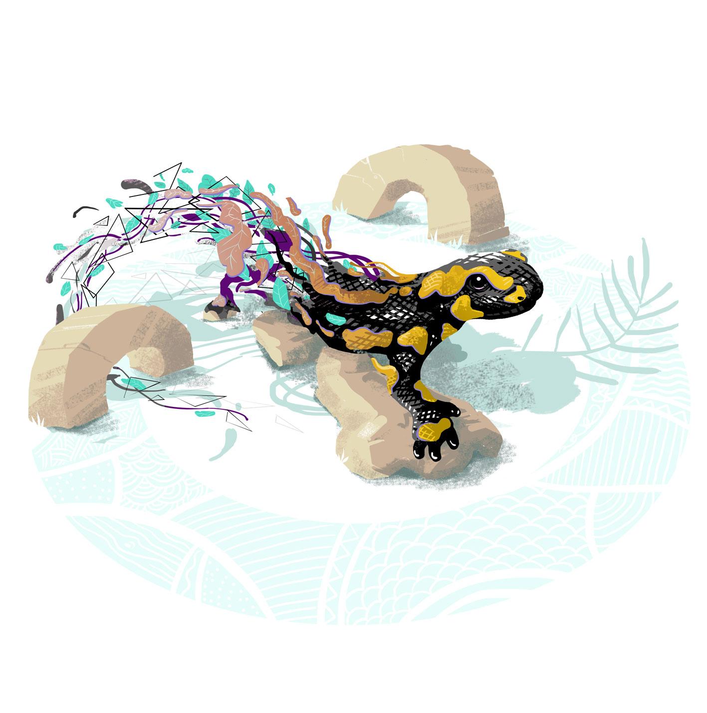 salamander - digital painting - abys illustration