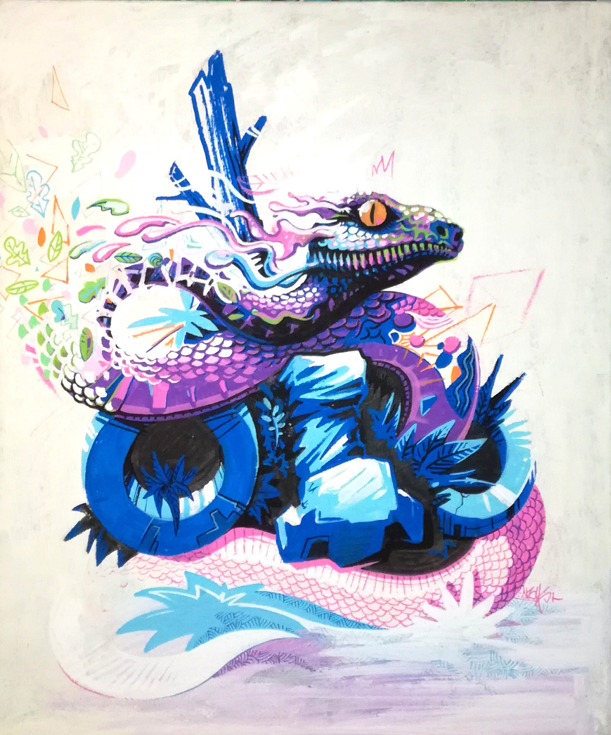 abys-illustration digital - streetart-lyon snake meta animals ebreed