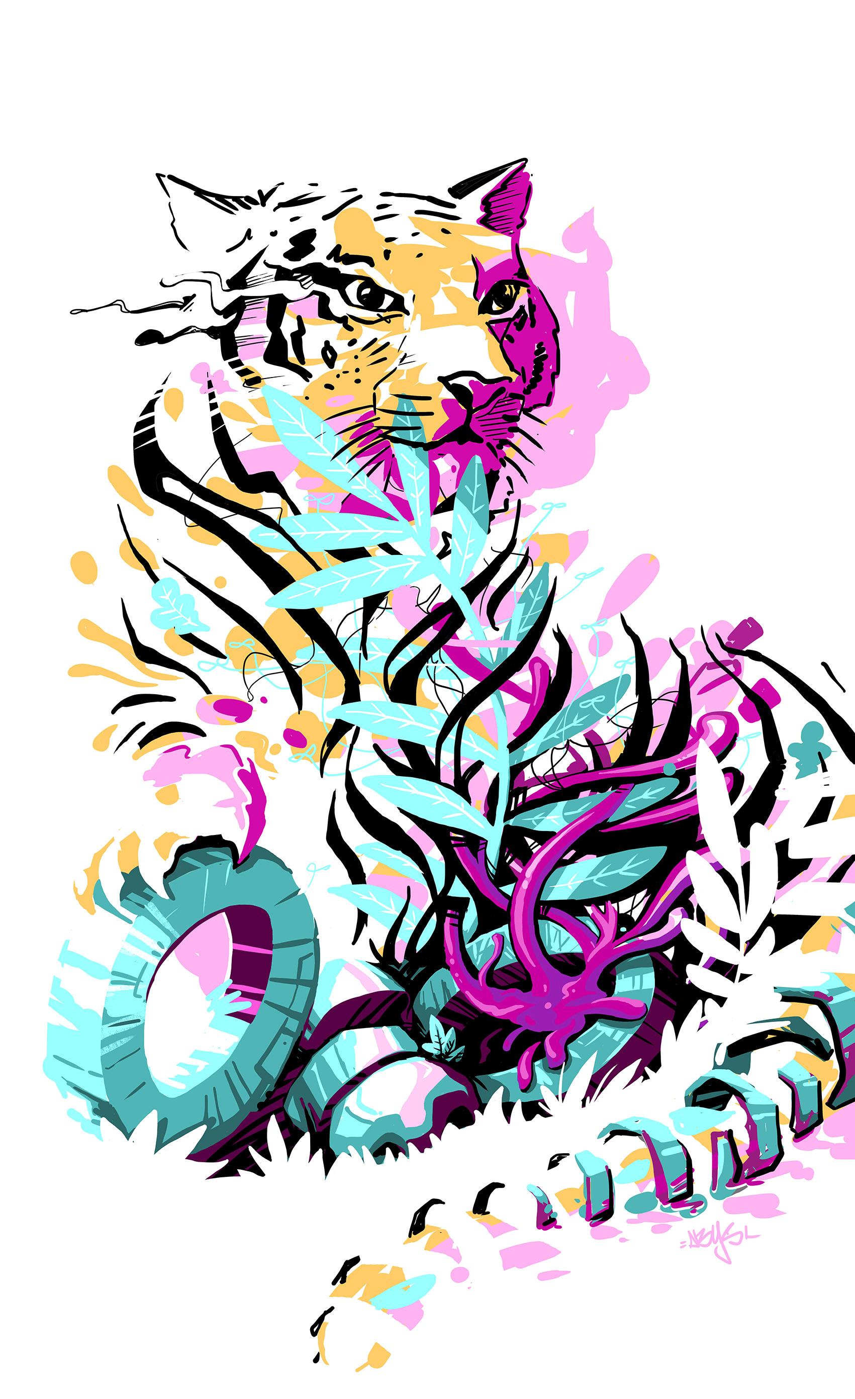 abys-illustration digital - streetart-lyon tiger meta animals ebreed