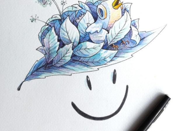 Da hatboy logo version streetart (aquarelle)+ birdy and feather -illustrateur-graphiste-lyon -abys
