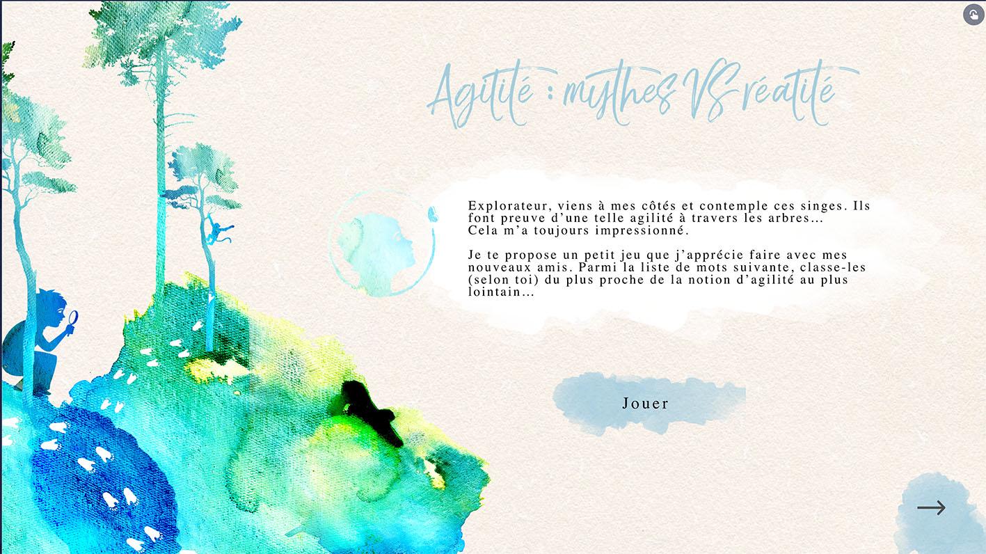 immersive game- jeux - immersif - escape danone illustration - aquarelle - pastel bleu doux - direction artistique - abys