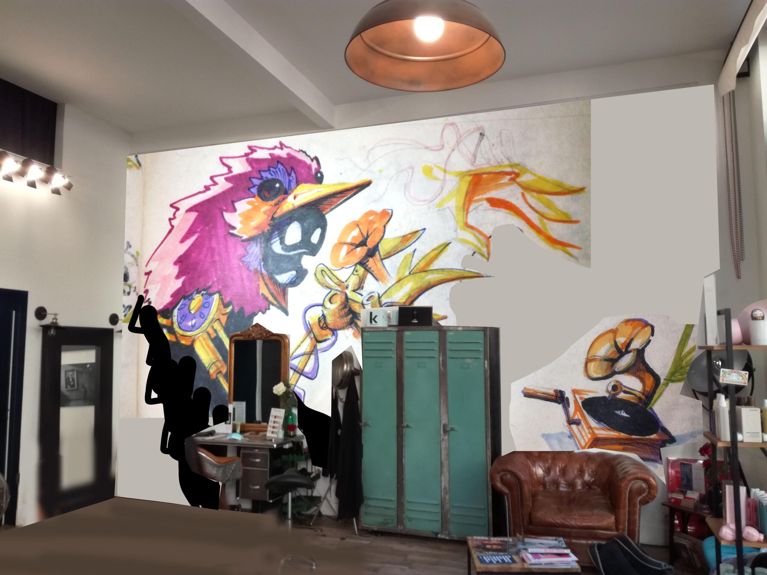sution inside coiffure lyon - deco graffiti - streetart abys2fly