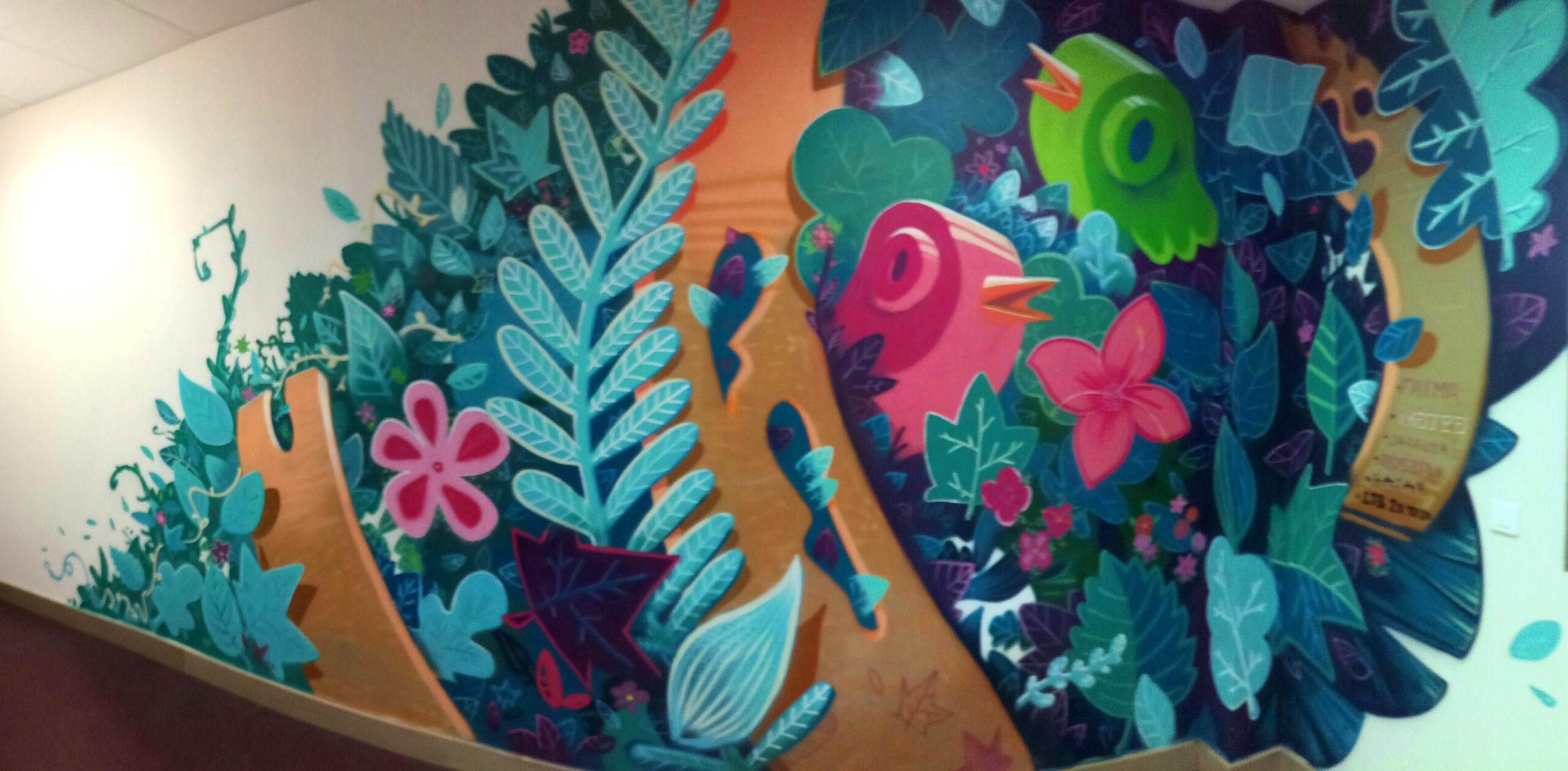 jacques-brel-deco-murale-abys - feuille nature organique peinture graffiti streetart lyon venissieux