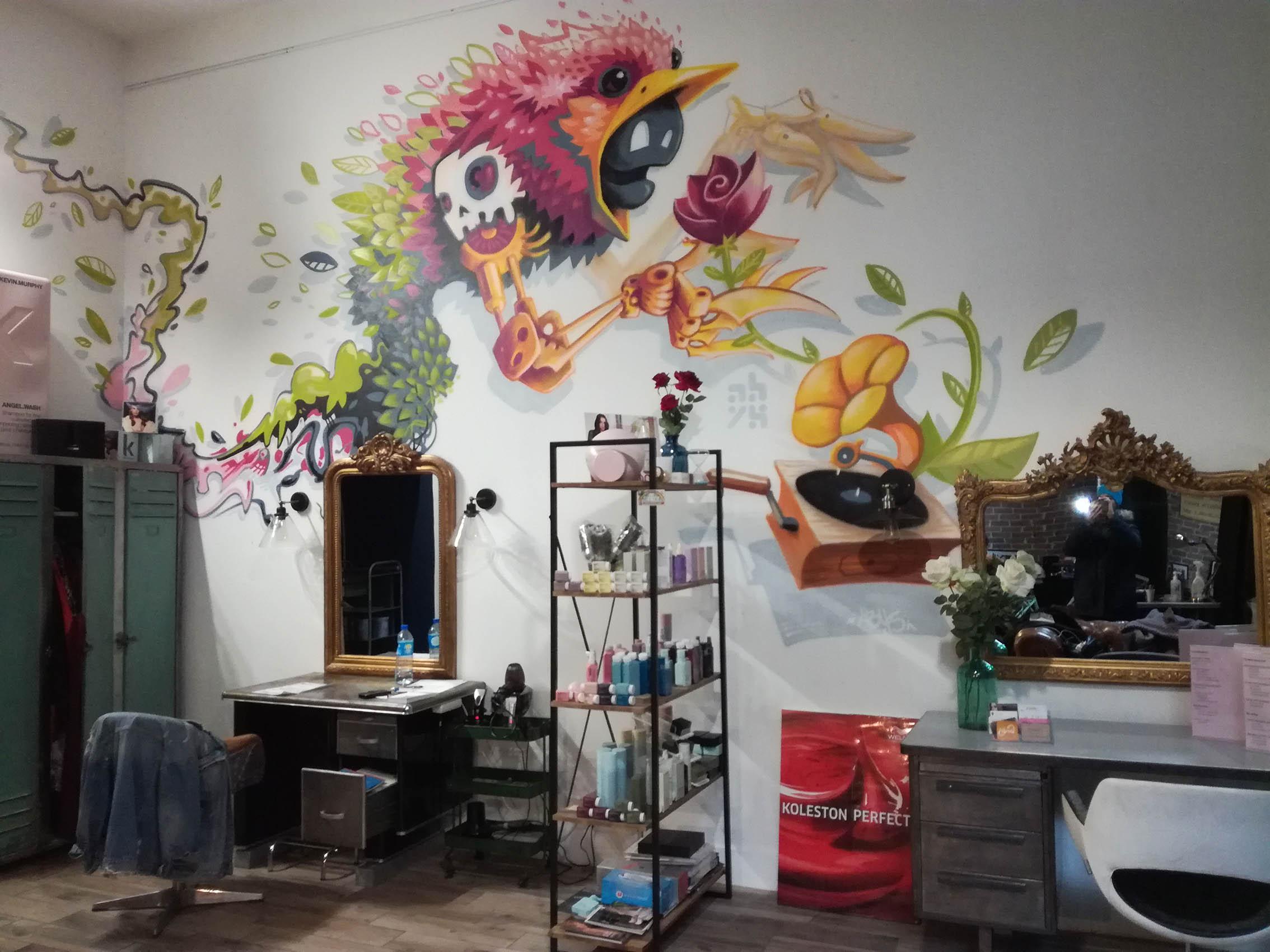 studio inside coiffure lyon - deco graffiti - streetart abys2fly