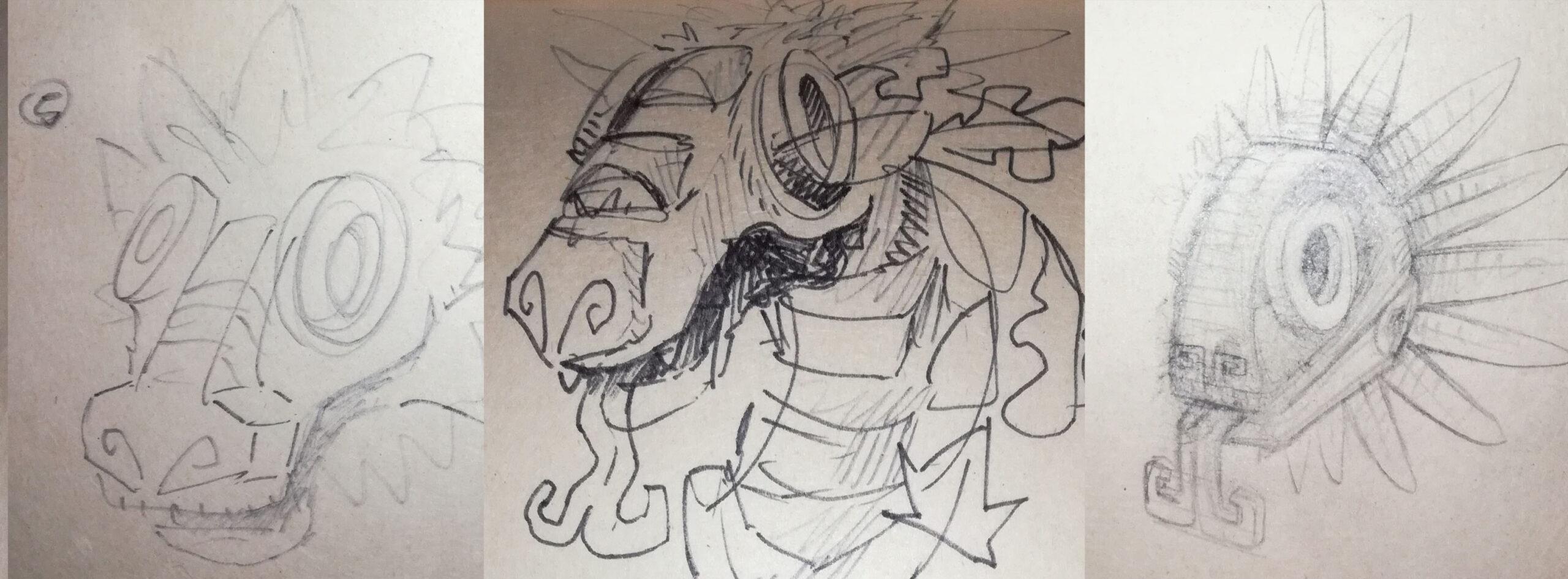 sketches - croquis esquisses - jeu de société - game - illustration - azteque-maya - chocolat - infographie - graphiste lyon - abys