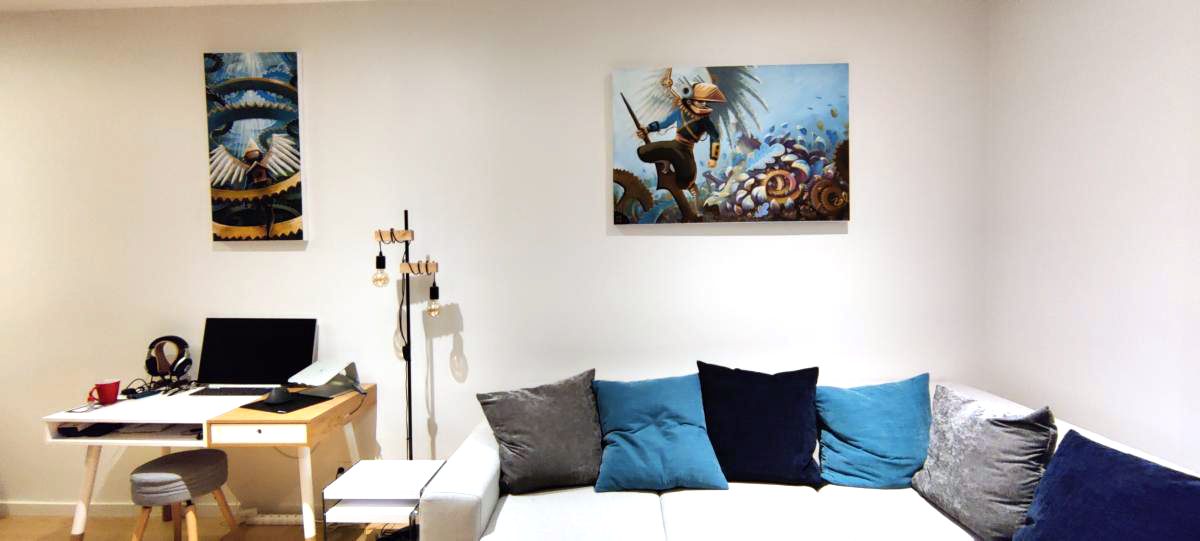 icare - labyrinthe steampunk - canvas - toile - acrylic - deco - abys 2fly - concept-art illustration
