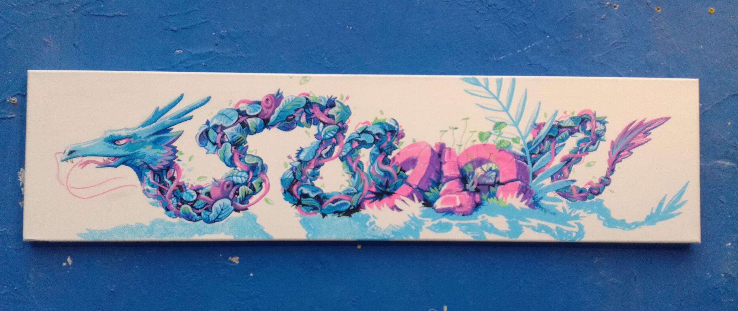 dragon - végétal - métaflaune toile illustration - street art abys2fly
