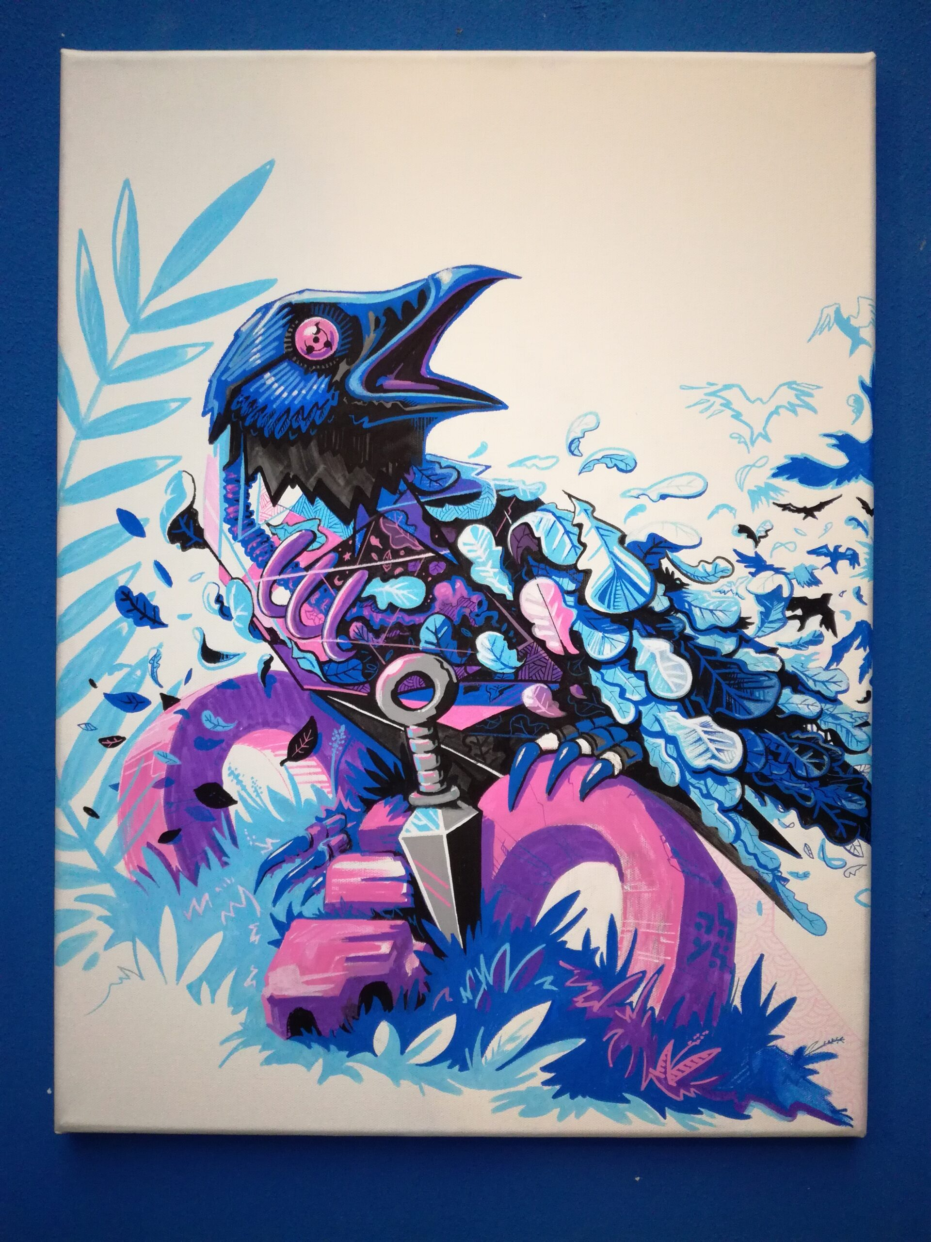 corbeau - végétal - métaflaune toile illustration - street art abys2fly