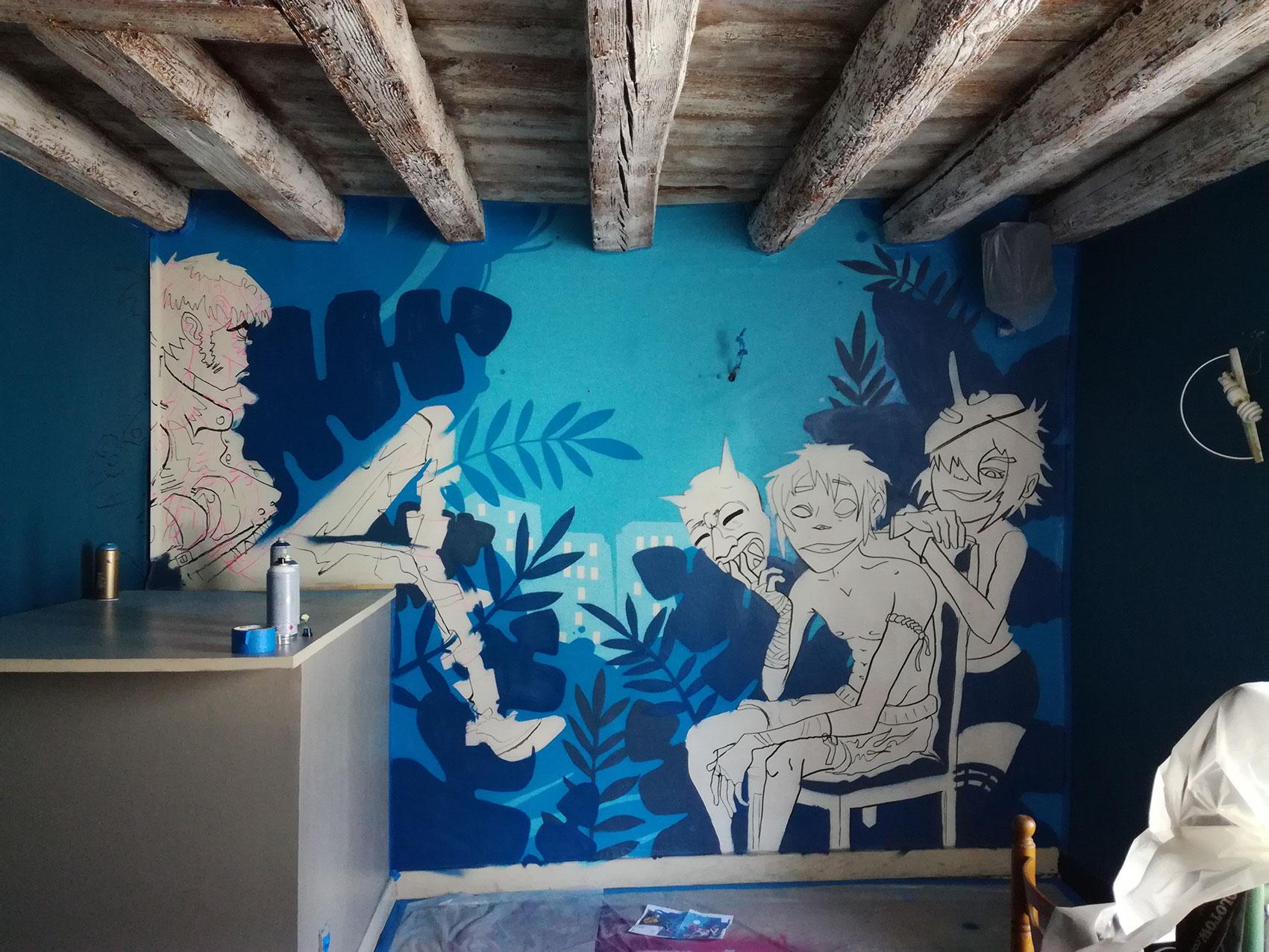 anamorphose lyon abys bar maison bleue décoration spray graffiti gorillaz peinture murale illustration