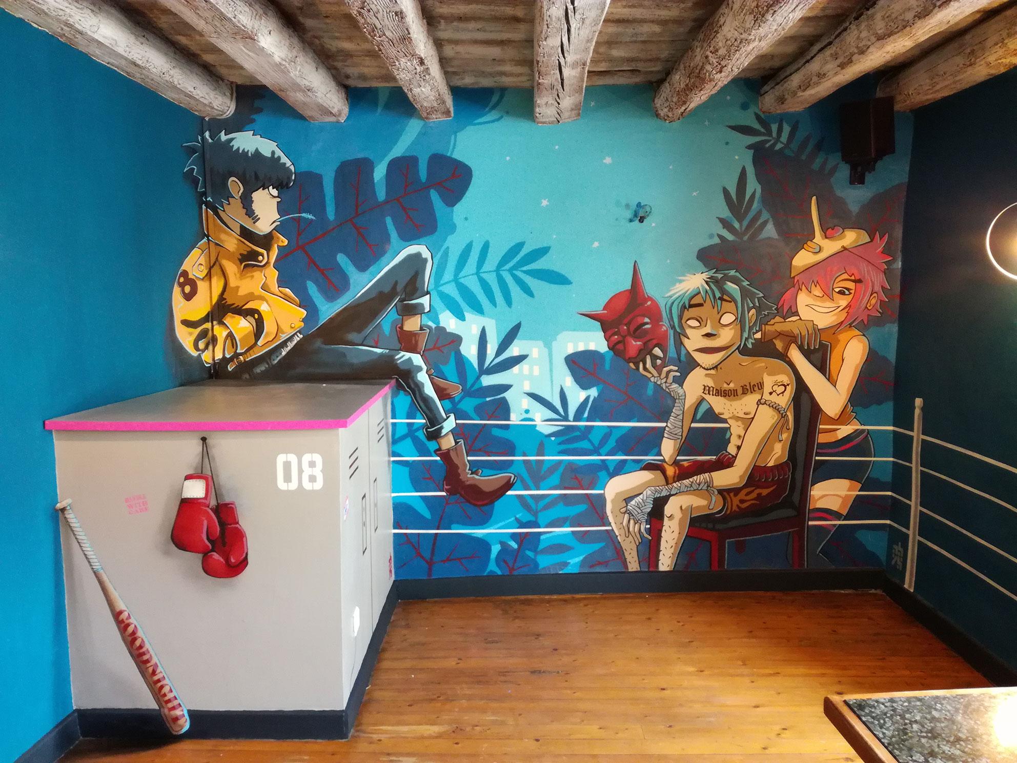 anamorphose lyon abys bar maison bleue décoration spray graffiti gorillaz peinture murale illustration fresque