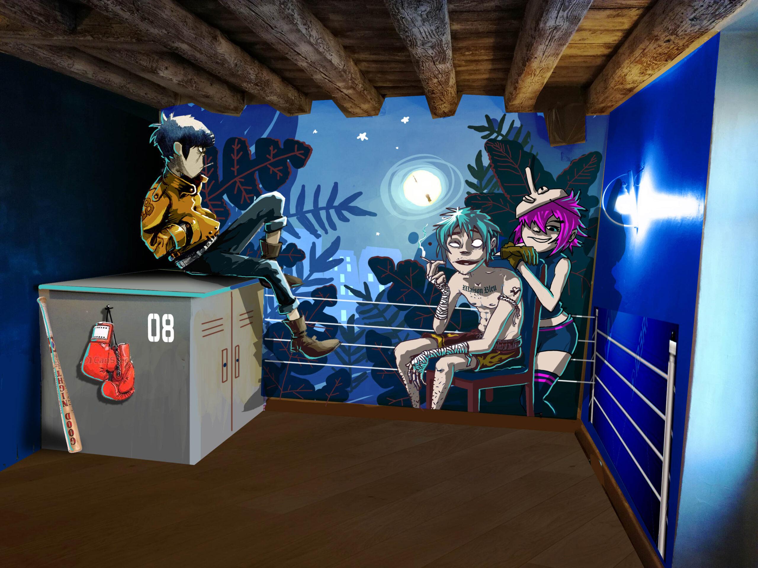 anamorphose lyon abys bar maison bleue décoration spray graffiti gorillaz peinture murale illustration spary urbanart street art maquette