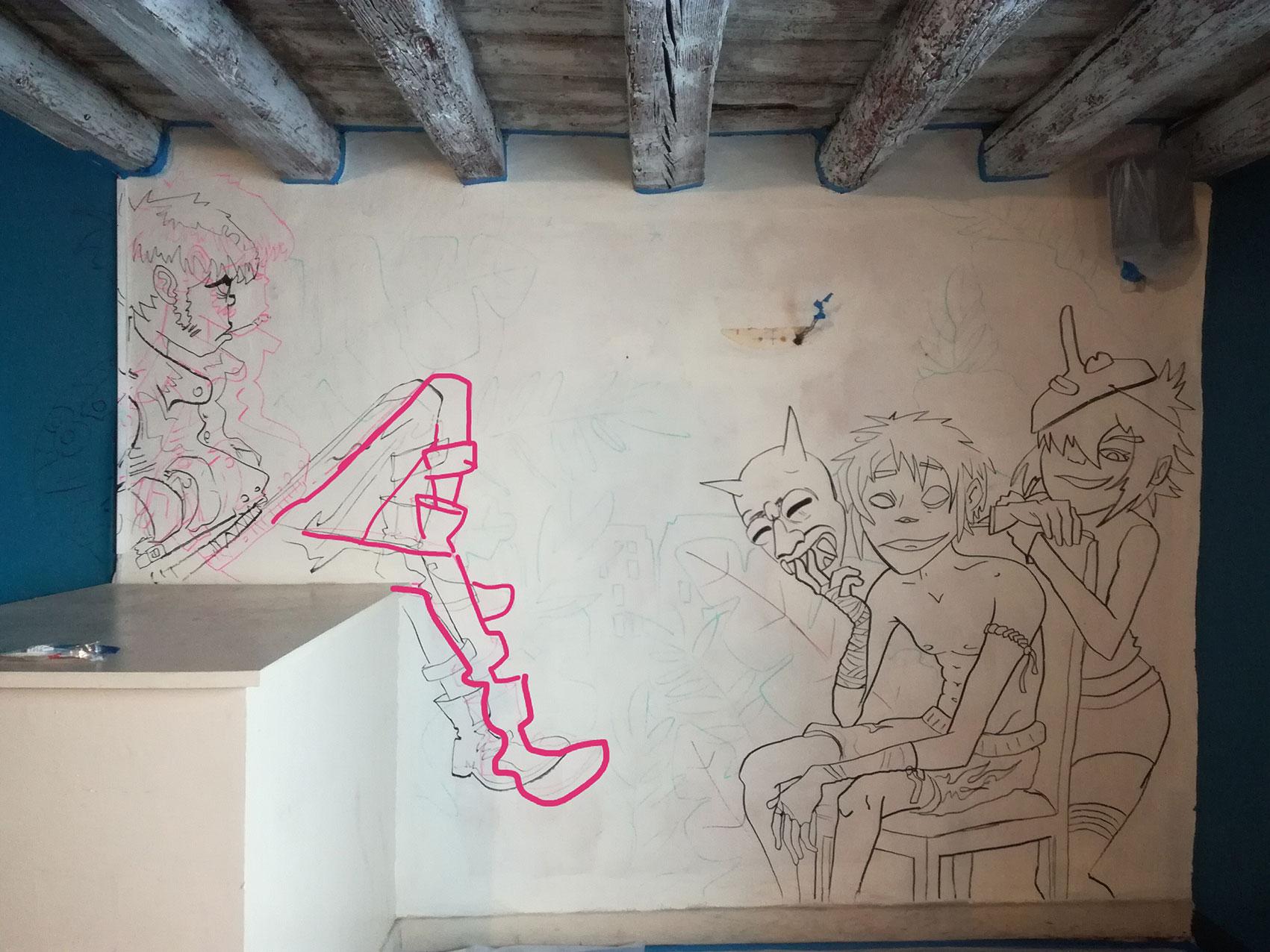 anamorphose lyon abys bar maison bleue décoration spray graffiti gorillaz peinture murale illustration esquisse croquis